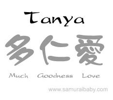 baby name - Tanya - symbolic meaning using Japanese kanji